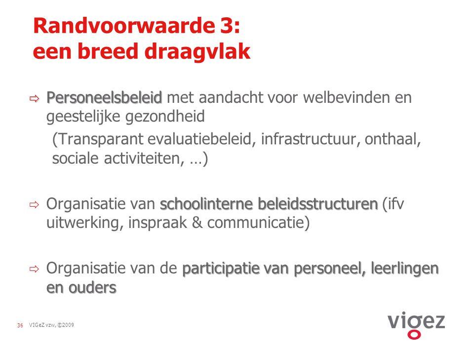 VIGeZ vzw, ©200936 Randvoorwaarde 3: een breed draagvlak  Personeelsbeleid  Personeelsbeleid met aandacht voor welbevinden en geestelijke gezondheid