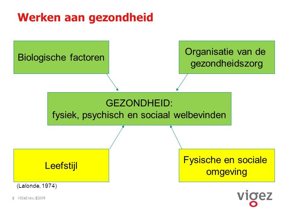 VIGeZ vzw, ©20095 Werken aan gezondheid Biologische factoren GEZONDHEID: fysiek, psychisch en sociaal welbevinden Organisatie van de gezondheidszorg F