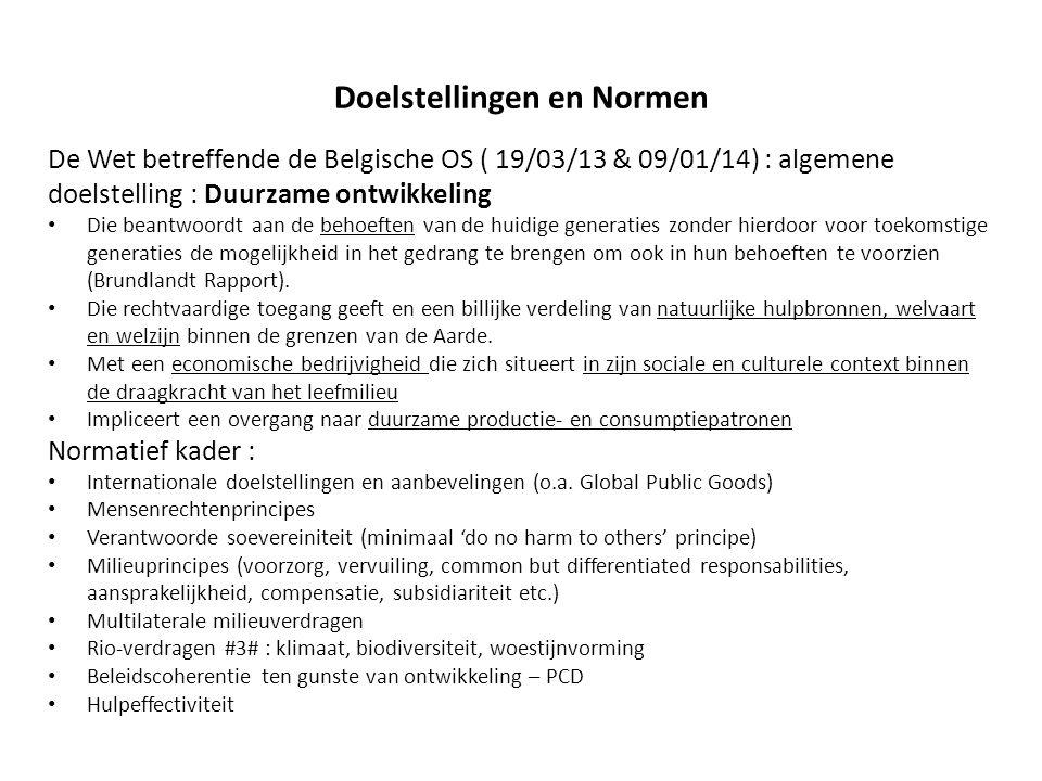 Doelstellingen en Normen De Wet betreffende de Belgische OS ( 19/03/13 & 09/01/14) : algemene doelstelling : Duurzame ontwikkeling Die beantwoordt aan de behoeften van de huidige generaties zonder hierdoor voor toekomstige generaties de mogelijkheid in het gedrang te brengen om ook in hun behoeften te voorzien (Brundlandt Rapport).