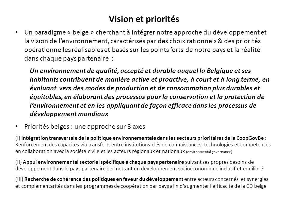 Vision et priorités Un paradigme « belge » cherchant à intégrer notre approche du développement et la vision de l'environnement, caractérisés par des choix rationnels & des priorités opérationnelles réalisables et basés sur les points forts de notre pays et la réalité dans chaque pays partenaire : Un environnement de qualité, accepté et durable auquel la Belgique et ses habitants contribuent de manière active et proactive, à court et à long terme, en évoluant vers des modes de production et de consommation plus durables et équitables, en élaborant des processus pour la conservation et la protection de l'environnement et en les appliquant de façon efficace dans les processus de développement mondiaux Priorités belges : une approche sur 3 axes (I) Intégration transversale de la politique environnementale dans les secteurs prioritaires de la CoopGovBe : Renforcement des capacités via transferts entre institutions clés de connaissances, technologies et compétences en collaboration avec la société civile et les acteurs régionaux et nationaux (environmental governance) (II) Appui environnemental sectoriel spécifique à chaque pays partenaire suivant ses propres besoins de développement dans le pays partenaire permettant un développement socioéconomique inclusif et équilibré (III) Recherche de cohérence des politiques en faveur du développement entre acteurs concernés et synergies et complémentarités dans les programmes de coopération par pays afin d'augmenter l'efficacité de la CD belge