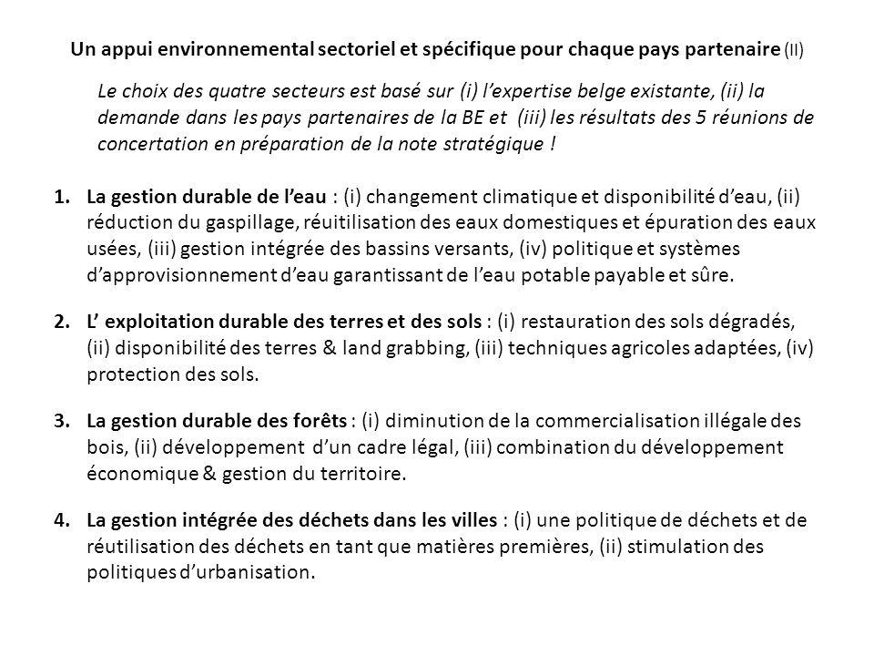 Un appui environnemental sectoriel et spécifique pour chaque pays partenaire (II) Le choix des quatre secteurs est basé sur (i) l'expertise belge existante, (ii) la demande dans les pays partenaires de la BE et (iii) les résultats des 5 réunions de concertation en préparation de la note stratégique .