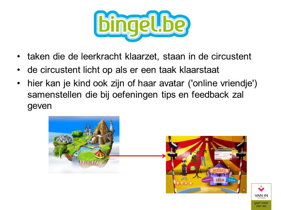 taken die de leerkracht klaarzet, staan in de circustent de circustent licht op als er een taak klaarstaat hier kan je kind ook zijn of haar avatar ('