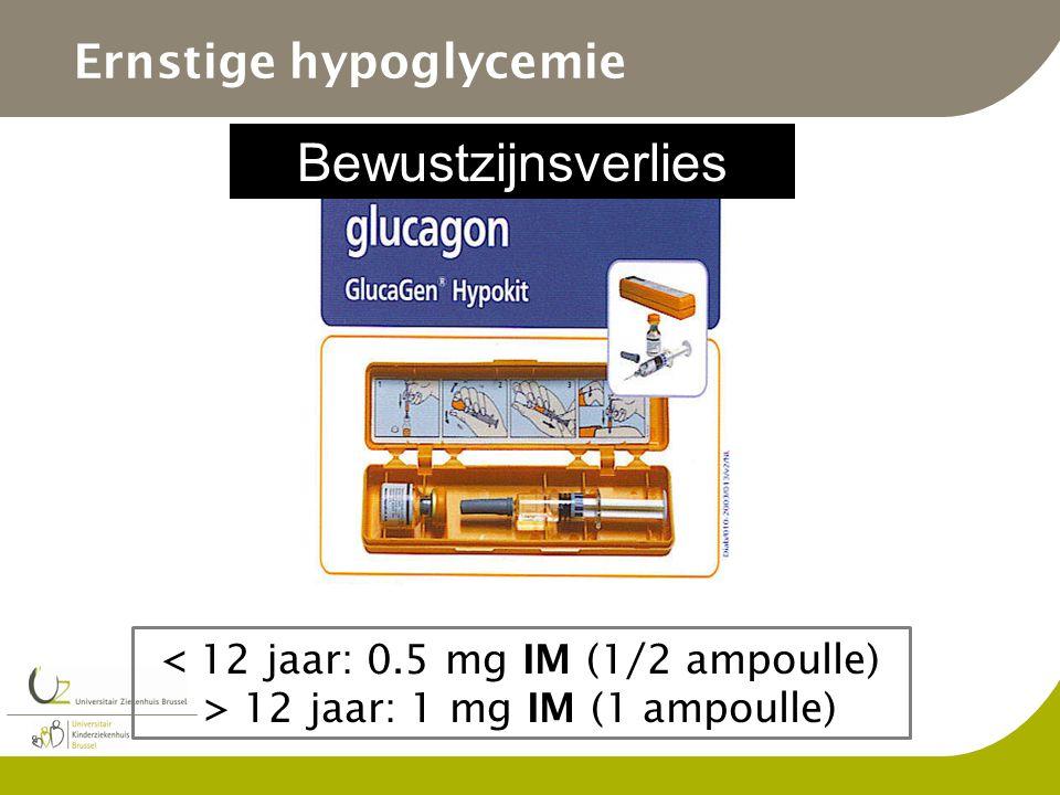Ernstige hypoglycemie Bewustzijnsverlies < 12 jaar: 0.5 mg IM (1/2 ampoulle) > 12 jaar: 1 mg IM (1 ampoulle)