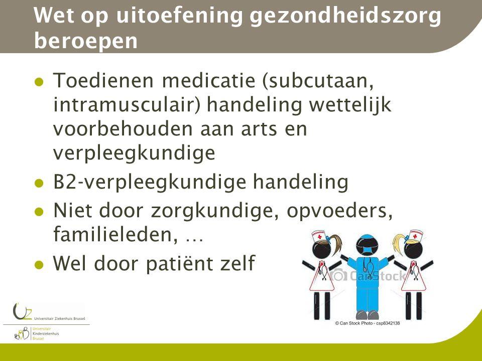 Wet op uitoefening gezondheidszorg beroepen Toedienen medicatie (subcutaan, intramusculair) handeling wettelijk voorbehouden aan arts en verpleegkundi