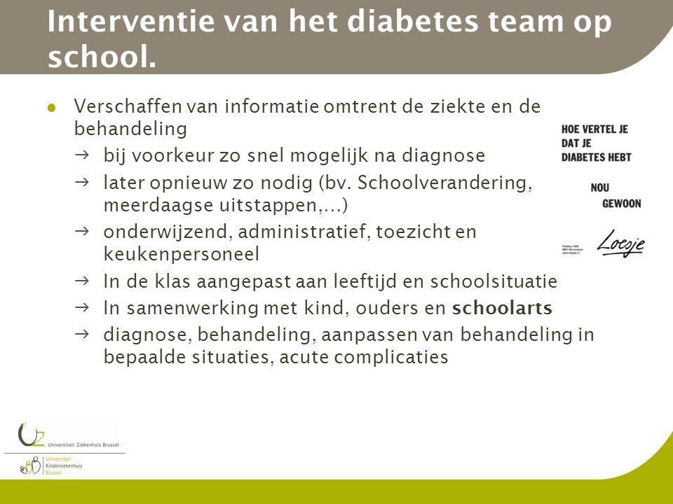 Interventie van het diabetes team op school. Verschaffen van informatie omtrent de ziekte en de behandeling bij voorkeur zo snel mogelijk na diagnose