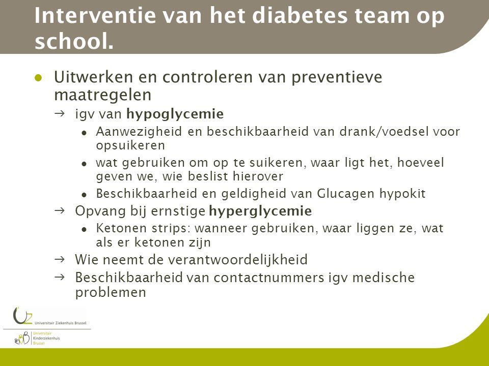 Interventie van het diabetes team op school. Uitwerken en controleren van preventieve maatregelen igv van hypoglycemie Aanwezigheid en beschikbaarhei