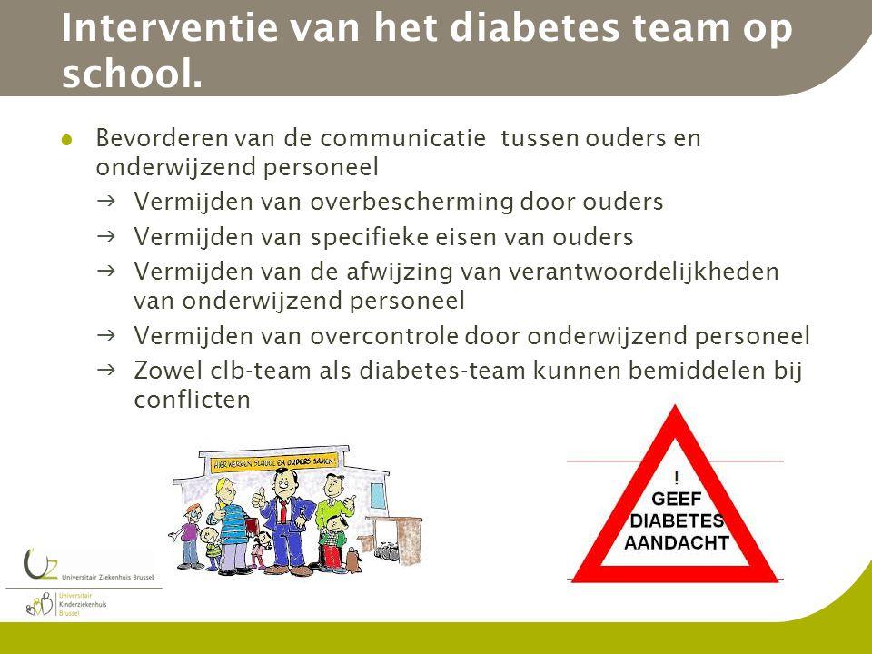 Interventie van het diabetes team op school. Bevorderen van de communicatie tussen ouders en onderwijzend personeel Vermijden van overbescherming doo