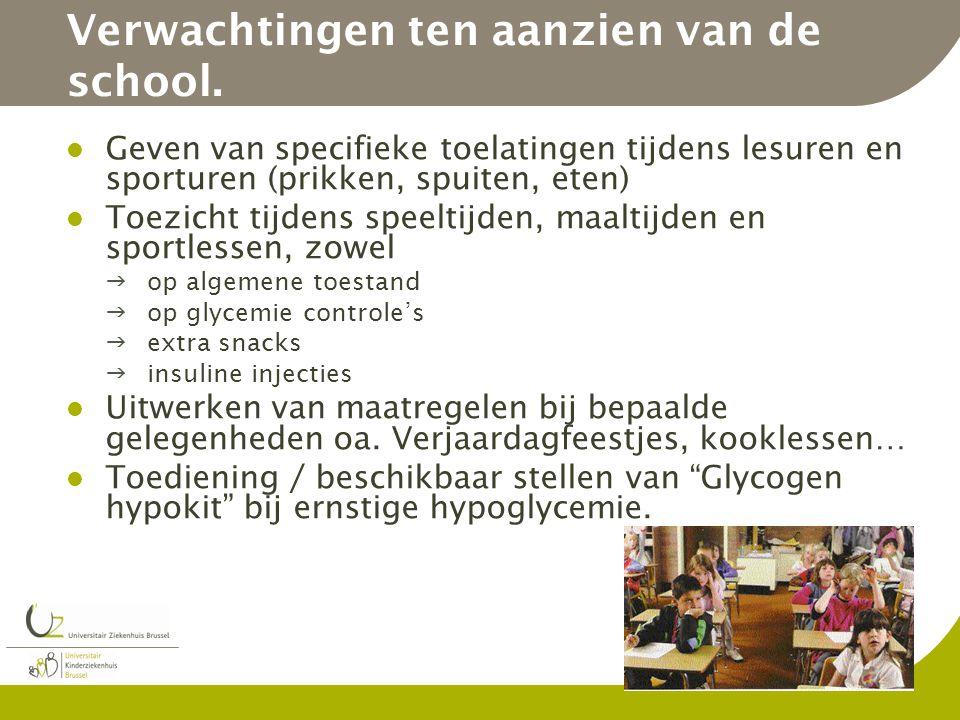Verwachtingen ten aanzien van de school. Geven van specifieke toelatingen tijdens lesuren en sporturen (prikken, spuiten, eten) Toezicht tijdens speel