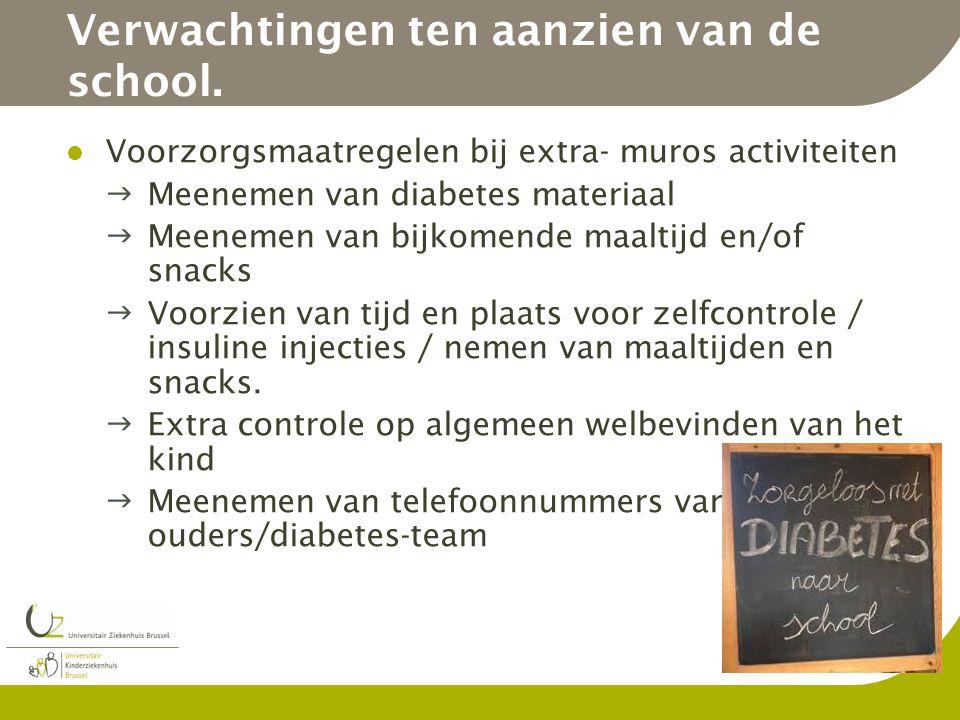 Verwachtingen ten aanzien van de school. Voorzorgsmaatregelen bij extra- muros activiteiten Meenemen van diabetes materiaal Meenemen van bijkomende