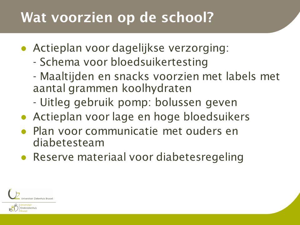 Wat voorzien op de school? Actieplan voor dagelijkse verzorging: - Schema voor bloedsuikertesting - Maaltijden en snacks voorzien met labels met aanta