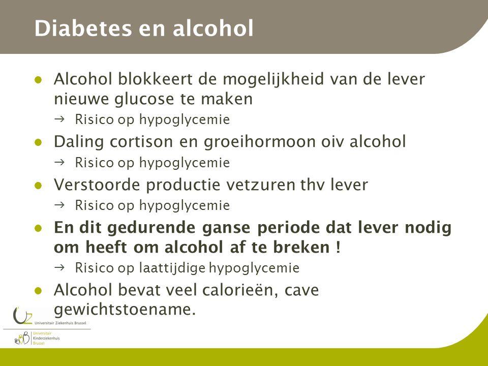 Diabetes en alcohol Alcohol blokkeert de mogelijkheid van de lever nieuwe glucose te maken Risico op hypoglycemie Daling cortison en groeihormoon oiv