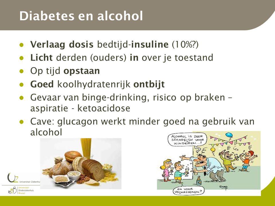 Diabetes en alcohol Verlaag dosis bedtijd-insuline (10%?) Licht derden (ouders) in over je toestand Op tijd opstaan Goed koolhydratenrijk ontbijt Geva