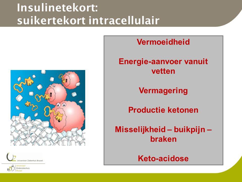 Insulinetekort: suikertekort intracellulair Vermoeidheid Energie-aanvoer vanuit vetten Vermagering Productie ketonen Misselijkheid – buikpijn – braken