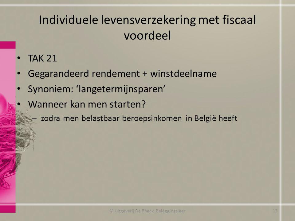 Individuele levensverzekering met fiscaal voordeel TAK 21 Gegarandeerd rendement + winstdeelname Synoniem: 'langetermijnsparen' Wanneer kan men starten.