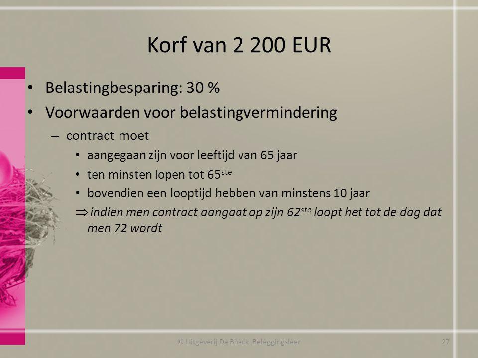 Korf van 2 200 EUR Belastingbesparing: 30 % Voorwaarden voor belastingvermindering – contract moet aangegaan zijn voor leeftijd van 65 jaar ten minsten lopen tot 65 ste bovendien een looptijd hebben van minstens 10 jaar  indien men contract aangaat op zijn 62 ste loopt het tot de dag dat men 72 wordt © Uitgeverij De Boeck Beleggingsleer27