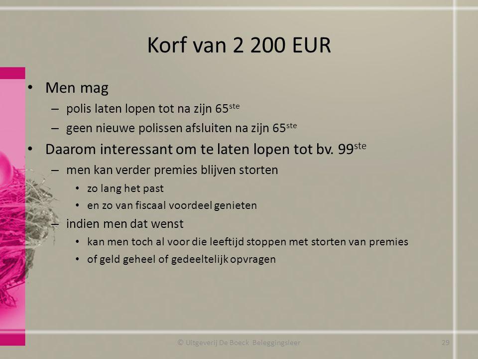 Korf van 2 200 EUR Men mag – polis laten lopen tot na zijn 65 ste – geen nieuwe polissen afsluiten na zijn 65 ste Daarom interessant om te laten lopen tot bv.