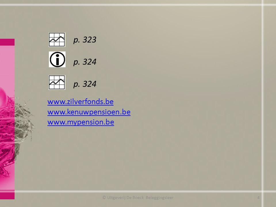 Fiscaliteit © Uitgeverij De Boeck Beleggingsleer Inkomstenjaar 2011 (aanslagjaar 2012) Korf van 2 120 EUR Korf van 880 EUR Inkomstenjaar 2012 (aanslagjaar 2013) Korf van 2 200 EUR Korf van 910 EUR Mogelijkheden binnen de derde pensioenpijler Individuele levensverzekering met fiscaal voordeel (Tak21) Fiscaal pensioensparen PensioenspaarfondsPensioenspaarverzekering Korf van 2 200 EURKorf van 910 EUR 25