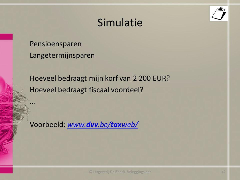 Simulatie Pensioensparen Langetermijnsparen Hoeveel bedraagt mijn korf van 2 200 EUR.