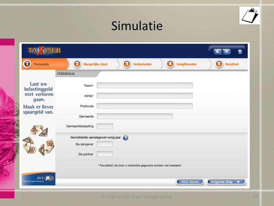 Simulatie © Uitgeverij De Boeck Beleggingsleer43