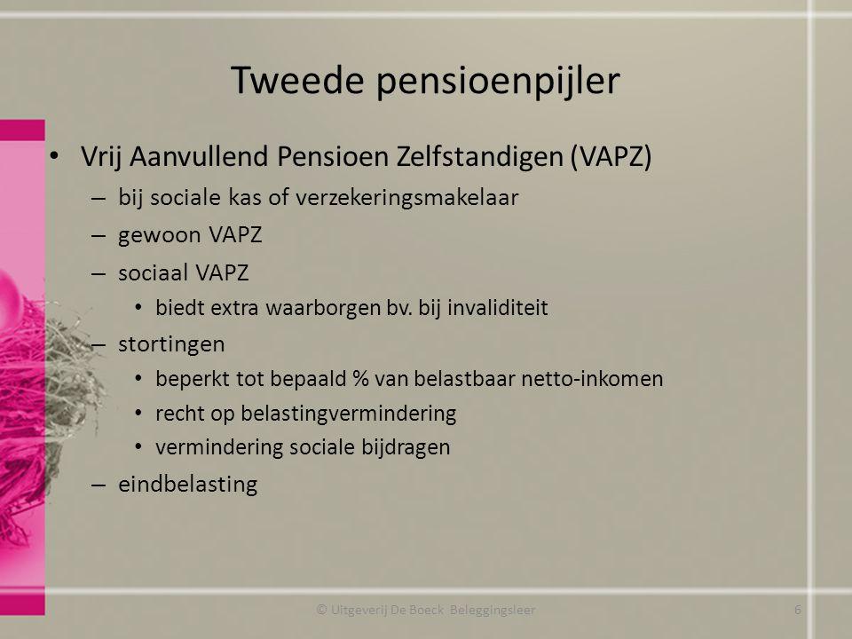 Tweede pensioenpijler Vrij Aanvullend Pensioen Zelfstandigen (VAPZ) – bij sociale kas of verzekeringsmakelaar – gewoon VAPZ – sociaal VAPZ biedt extra waarborgen bv.