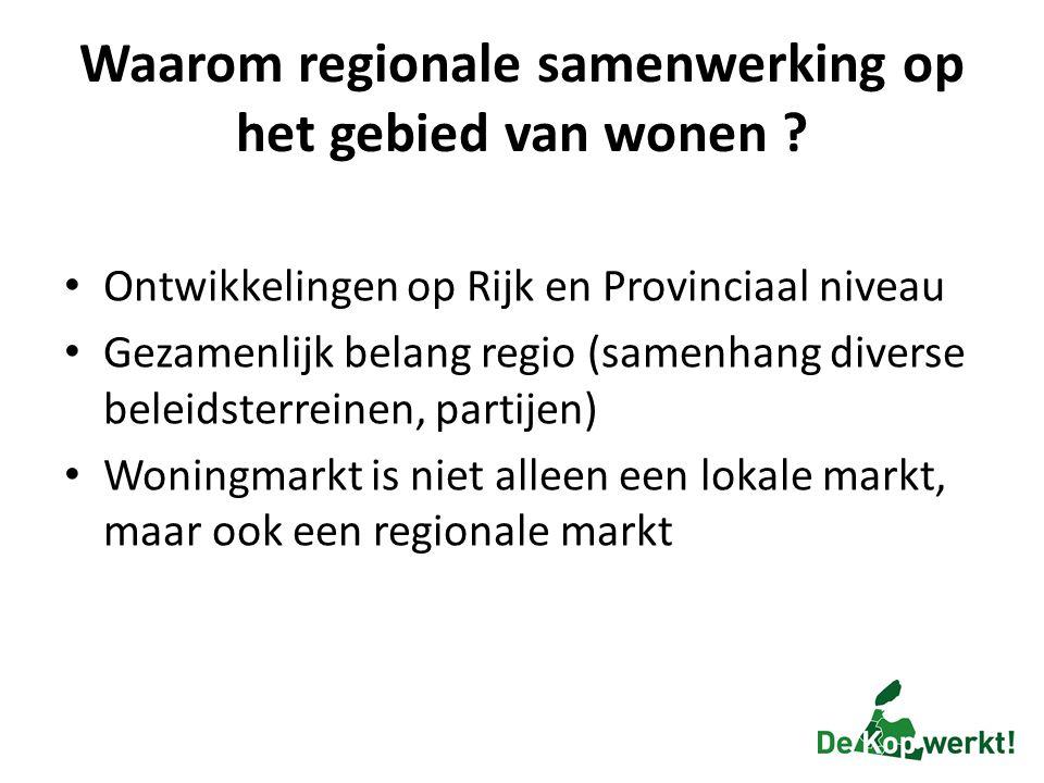 Waarom regionale samenwerking op het gebied van wonen ? Ontwikkelingen op Rijk en Provinciaal niveau Gezamenlijk belang regio (samenhang diverse belei