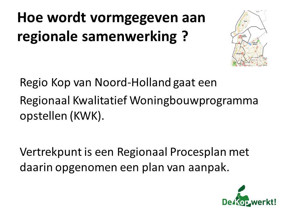 Hoe wordt vormgegeven aan regionale samenwerking ? Regio Kop van Noord-Holland gaat een Regionaal Kwalitatief Woningbouwprogramma opstellen (KWK). Ver