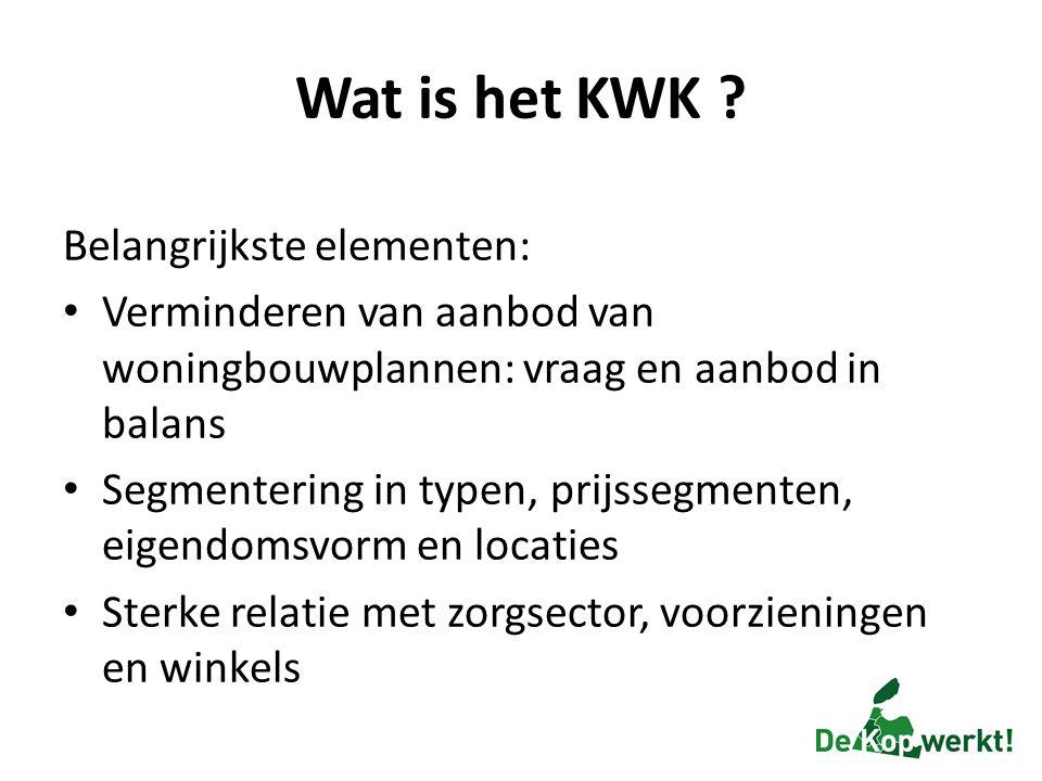 Wat is het KWK ? Belangrijkste elementen: Verminderen van aanbod van woningbouwplannen: vraag en aanbod in balans Segmentering in typen, prijssegmente