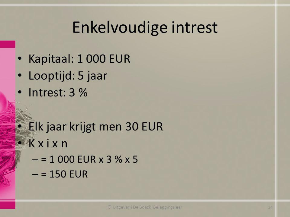 Enkelvoudige intrest Kapitaal: 1 000 EUR Looptijd: 5 jaar Intrest: 3 % Elk jaar krijgt men 30 EUR K x i x n – = 1 000 EUR x 3 % x 5 – = 150 EUR © Uitgeverij De Boeck Beleggingsleer14