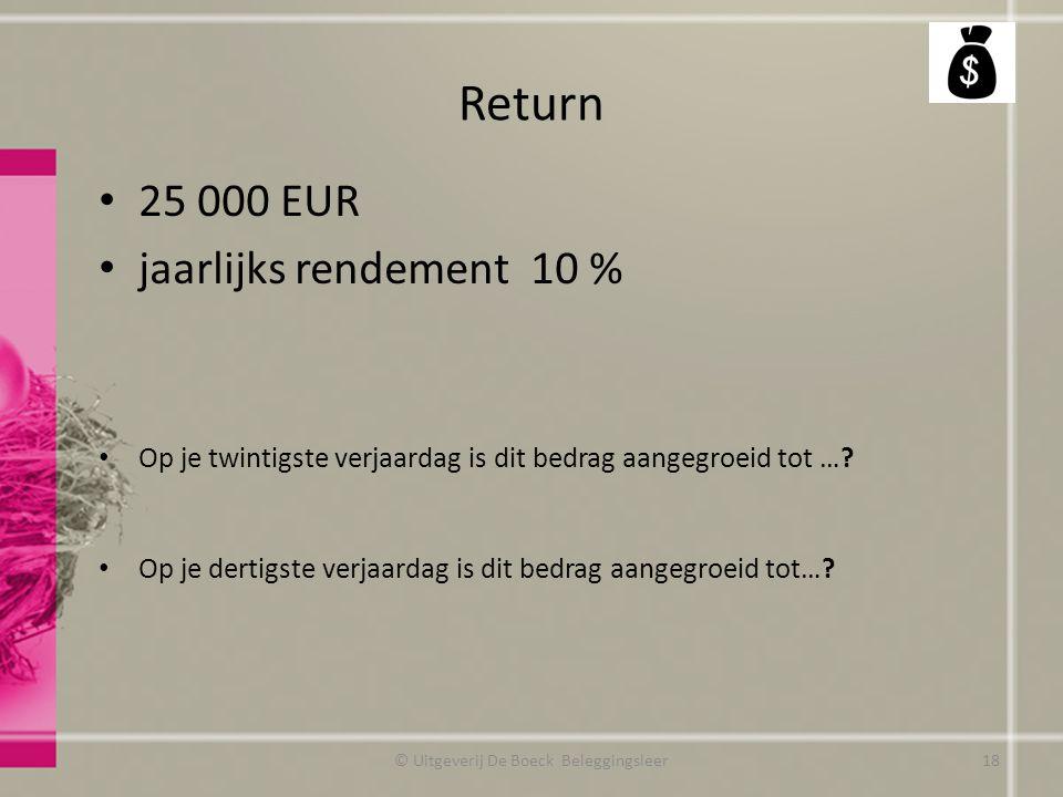 Return 25 000 EUR jaarlijks rendement 10 % Op je twintigste verjaardag is dit bedrag aangegroeid tot ….