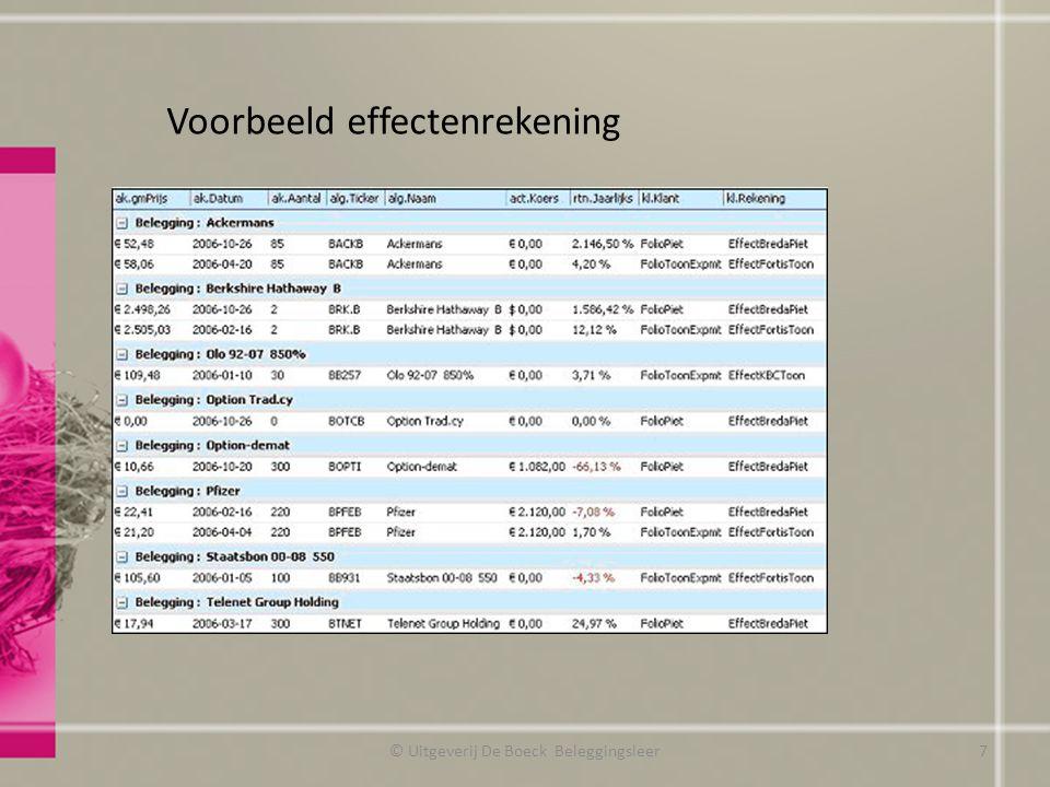 Voorbeeld effectenrekening © Uitgeverij De Boeck Beleggingsleer7