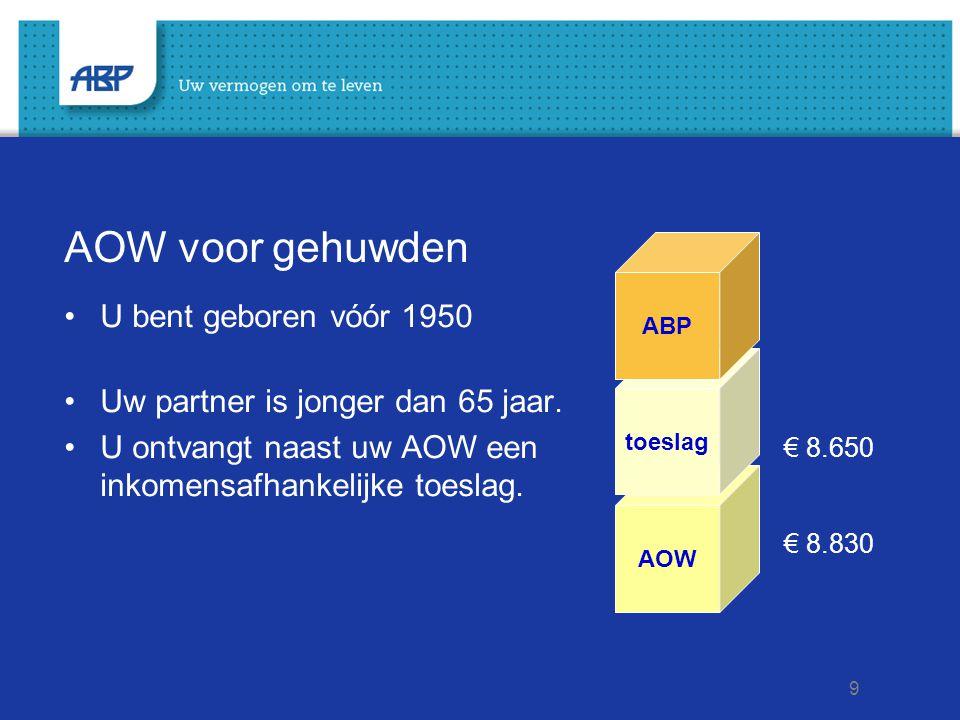 9 AOW voor gehuwden U bent geboren vóór 1950 Uw partner is jonger dan 65 jaar. U ontvangt naast uw AOW een inkomensafhankelijke toeslag. € 8.650 € 8.8