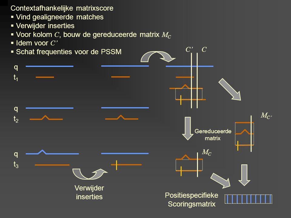 q t1t1 q t2t2 q t3t3 Verwijder inserties CC' Contextafhankelijke matrixscore  Vind gealigneerde matches  Verwijder inserties  Voor kolom C, bouw de gereduceerde matrix M C  Idem voor C'  Schat frequenties voor de PSSM M C' Positiespecifieke Scoringsmatrix MCMC Gereduceerde matrix