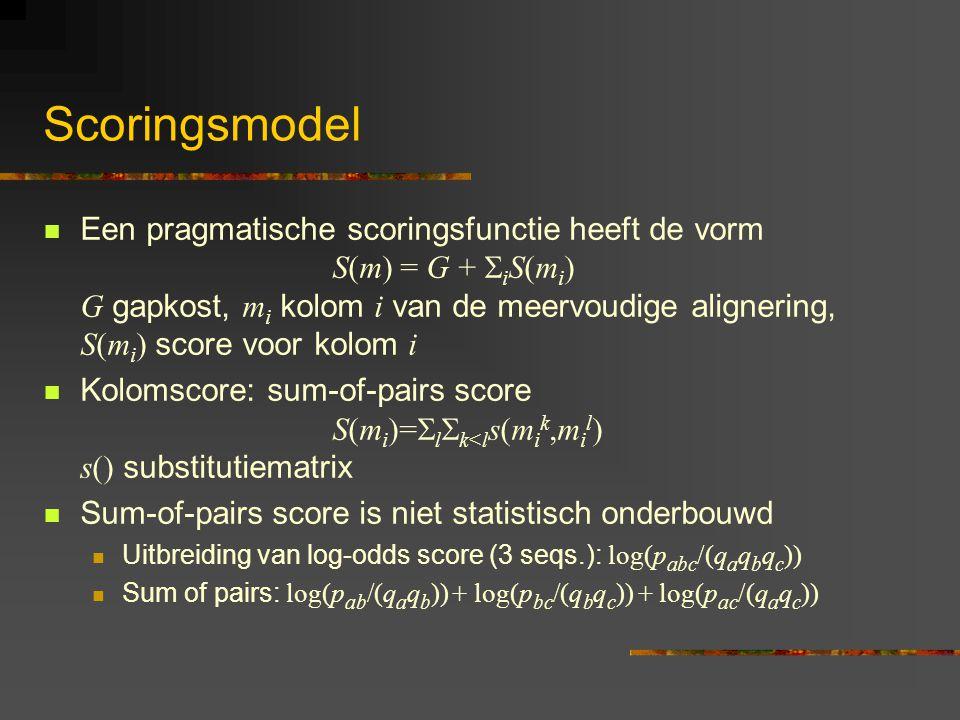 Scoringsmodel Een pragmatische scoringsfunctie heeft de vorm S(m) = G +  i S(m i ) G gapkost, m i kolom i van de meervoudige alignering, S(m i ) score voor kolom i Kolomscore: sum-of-pairs score S(m i )=  l  k<l s(m i k,m i l ) s() substitutiematrix Sum-of-pairs score is niet statistisch onderbouwd Uitbreiding van log-odds score (3 seqs.): log(p abc /(q a q b q c )) Sum of pairs: log(p ab /(q a q b )) + log(p bc /(q b q c )) + log(p ac /(q a q c ))