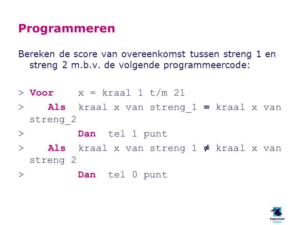 Programmeren Bereken de score van overeenkomst tussen streng 1 en streng 2 m.b.v.