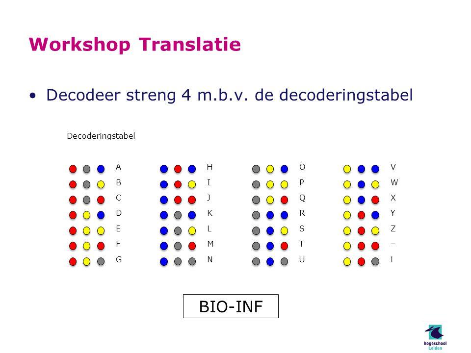 Workshop Translatie Decodeer streng 4 m.b.v.