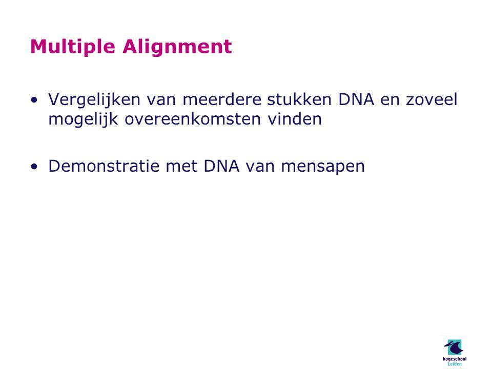 Multiple Alignment Vergelijken van meerdere stukken DNA en zoveel mogelijk overeenkomsten vinden Demonstratie met DNA van mensapen