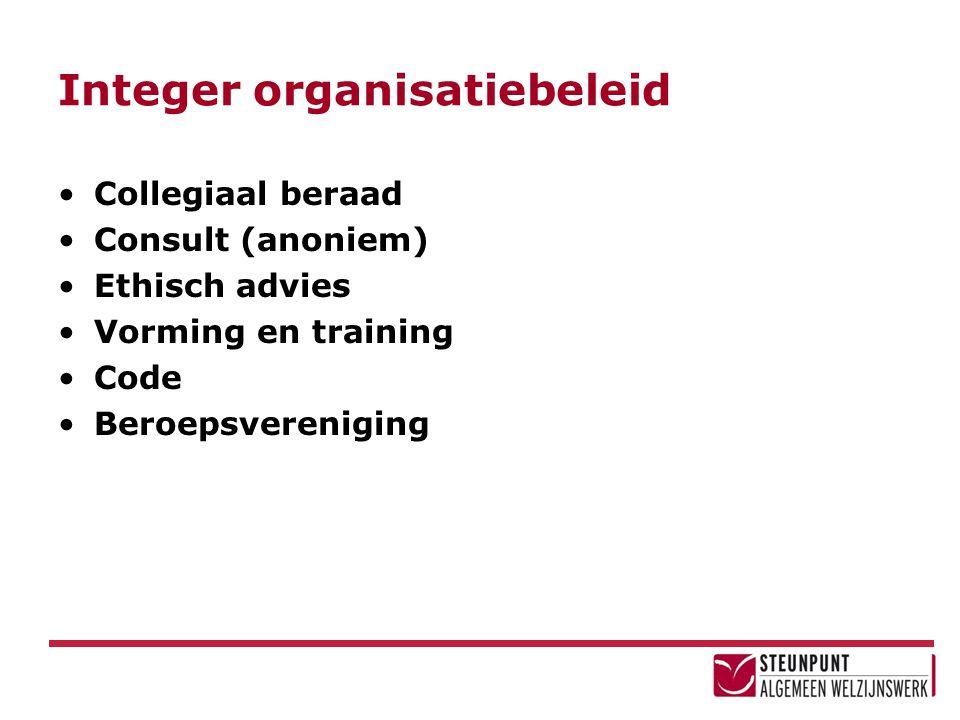 Integer organisatiebeleid Collegiaal beraad Consult (anoniem) Ethisch advies Vorming en training Code Beroepsvereniging