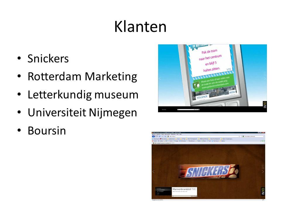 Klanten Snickers Rotterdam Marketing Letterkundig museum Universiteit Nijmegen Boursin