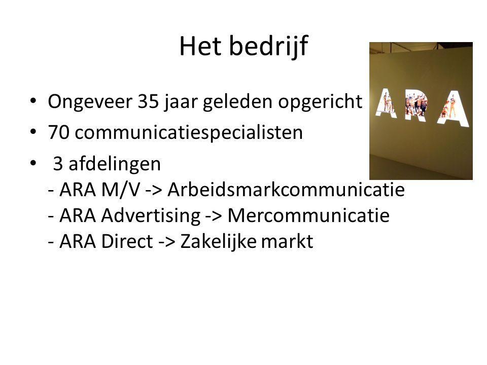Het bedrijf Ongeveer 35 jaar geleden opgericht 70 communicatiespecialisten 3 afdelingen - ARA M/V -> Arbeidsmarkcommunicatie - ARA Advertising -> Merc