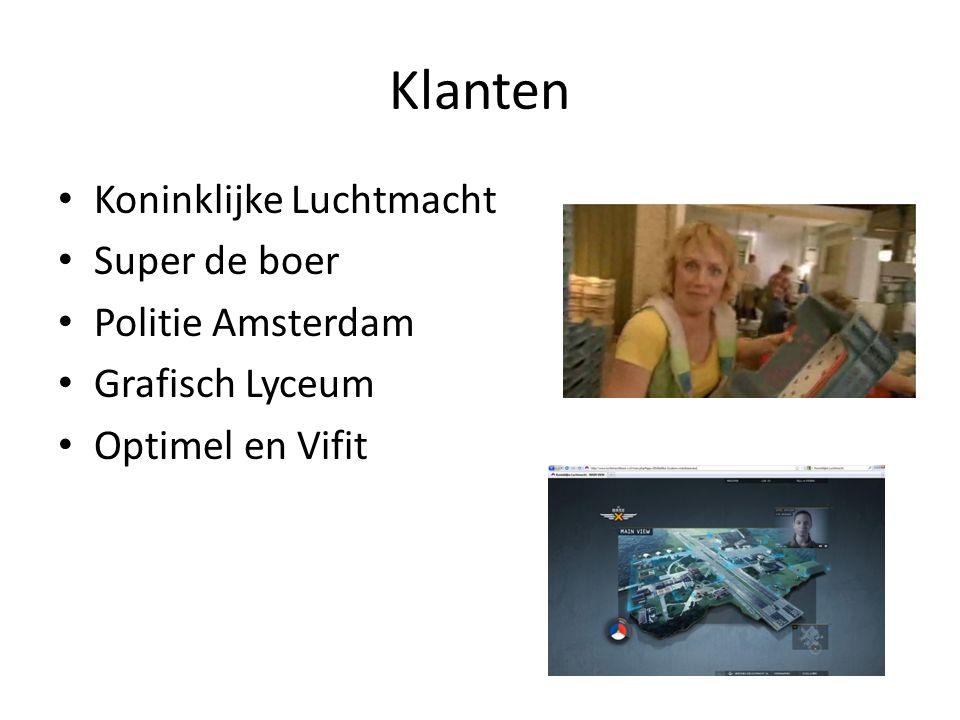 Klanten Koninklijke Luchtmacht Super de boer Politie Amsterdam Grafisch Lyceum Optimel en Vifit