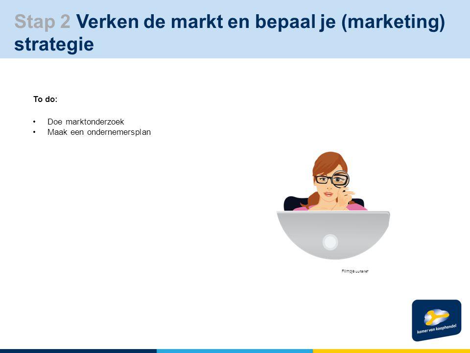 Stap 2 Verken de markt en bepaal je (marketing) strategie To do: Doe marktonderzoek Maak een ondernemersplan Filmpje uurtarief