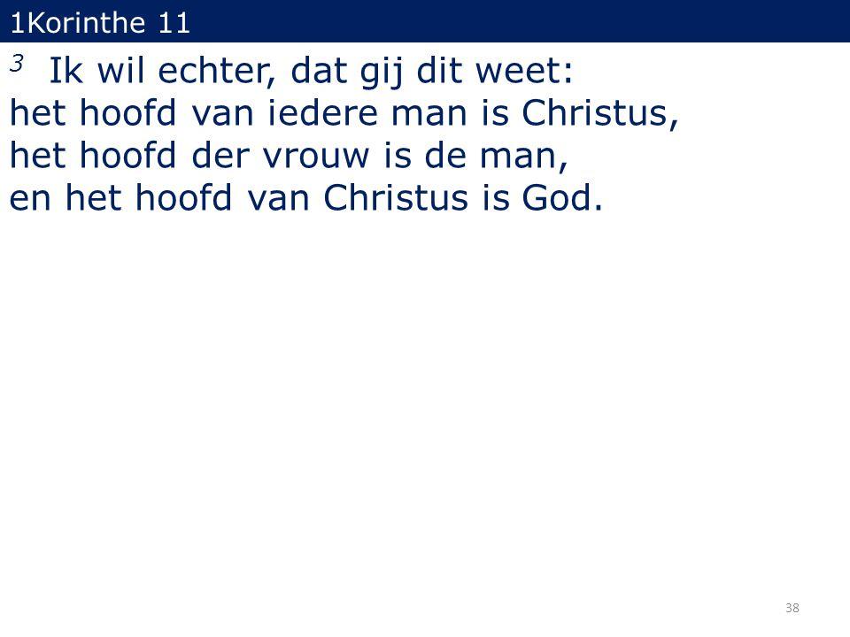 1Korinthe 11 3 Ik wil echter, dat gij dit weet: het hoofd van iedere man is Christus, het hoofd der vrouw is de man, en het hoofd van Christus is God.