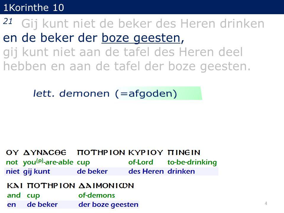 1Korinthe 10 21 Gij kunt niet de beker des Heren drinken en de beker der boze geesten, gij kunt niet aan de tafel des Heren deel hebben en aan de tafel der boze geesten.