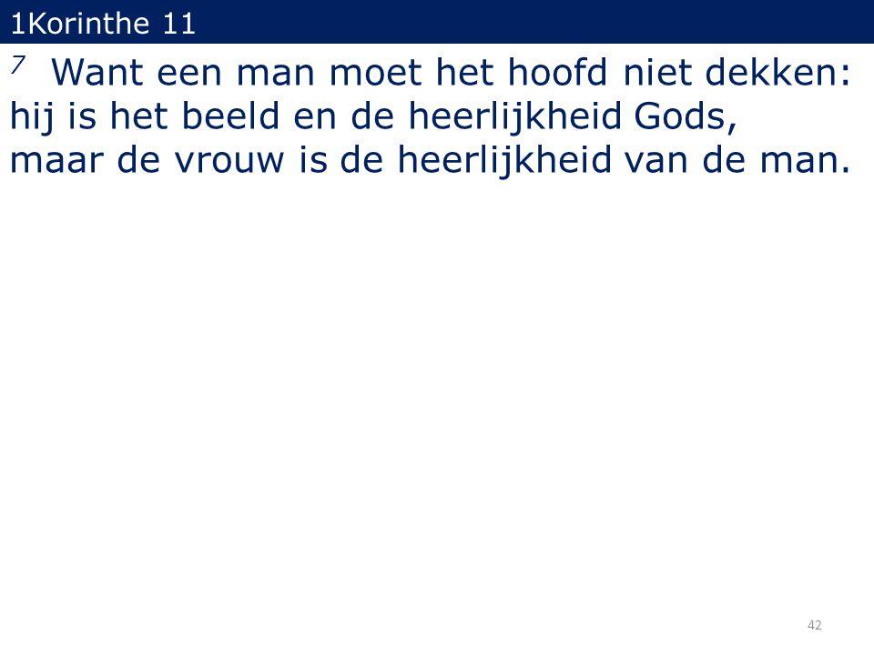 1Korinthe 11 7 Want een man moet het hoofd niet dekken: hij is het beeld en de heerlijkheid Gods, maar de vrouw is de heerlijkheid van de man. 42