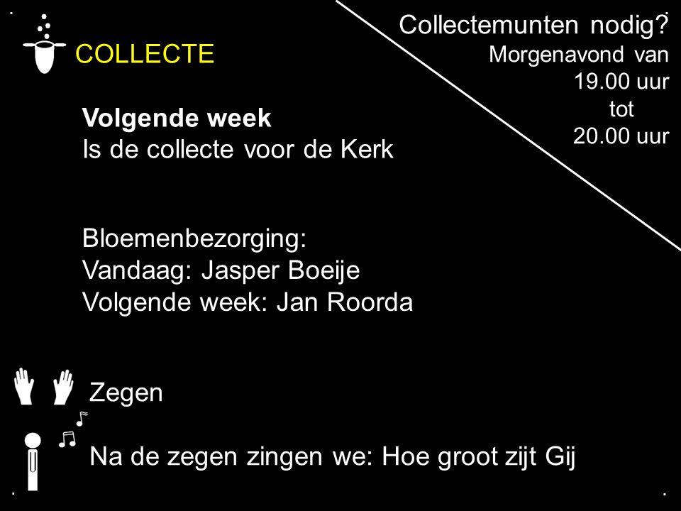 .... COLLECTE Volgende week Is de collecte voor de Kerk Bloemenbezorging: Vandaag: Jasper Boeije Volgende week: Jan Roorda Zegen Na de zegen zingen we