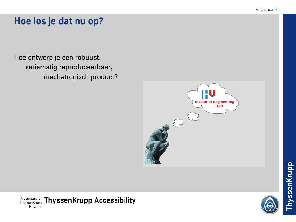 Subject, Date 10 A company of ThyssenKrupp Elevator ThyssenKrupp Accessibility ThyssenKrupp Hoe los je dat nu op.