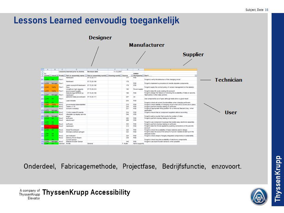 Subject, Date 16 A company of ThyssenKrupp Elevator ThyssenKrupp Accessibility ThyssenKrupp Lessons Learned eenvoudig toegankelijk Onderdeel, Fabricagemethode, Projectfase, Bedrijfsfunctie, enzovoort.
