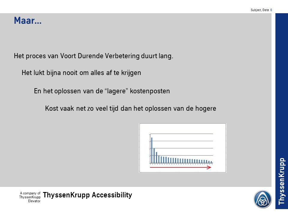 Subject, Date 7 A company of ThyssenKrupp Elevator ThyssenKrupp Accessibility ThyssenKrupp En terwijl je aan de verbeteringen werkt: Ontwikkelt men nieuwe producten en productieprocessen Met een vergelijkbare patronen
