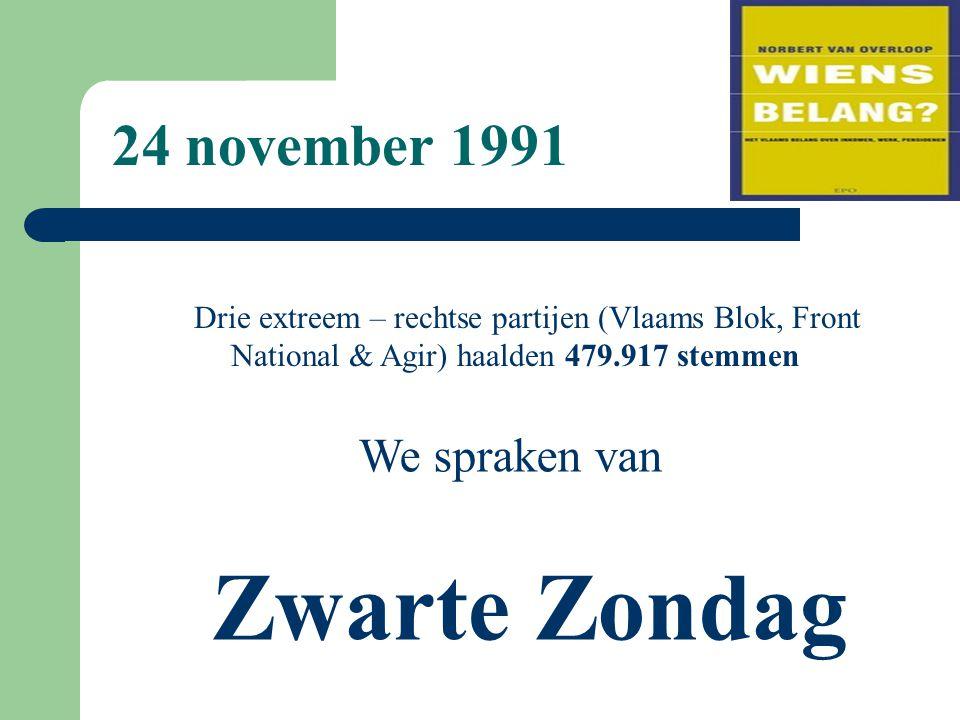 Drie extreem – rechtse partijen (Vlaams Blok, Front National & Agir) haalden 479.917 stemmen We spraken van Zwarte Zondag 24 november 1991