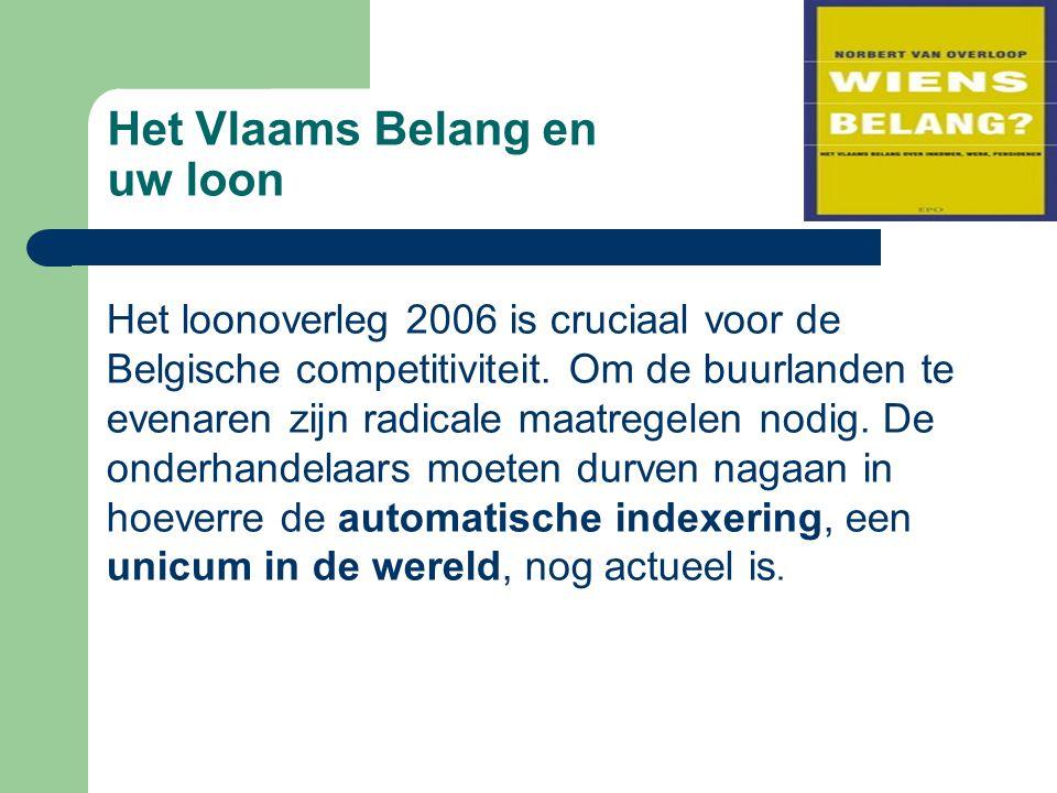 Het Vlaams Belang en uw loon Het loonoverleg 2006 is cruciaal voor de Belgische competitiviteit. Om de buurlanden te evenaren zijn radicale maatregele